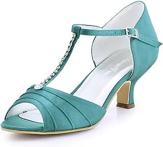 EL-035 Women Peep Toe T-Strap Pumps Mid Heel Rhinestones Satin Evening Wedding Bridal Sandals