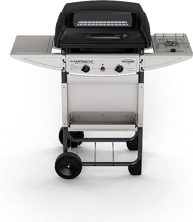 Barbecue compatto a gas con 2 bruciatori, potenza 7 kw, cavo in acciaio cromato, 2 ripiani laterali campingaz 3000002862