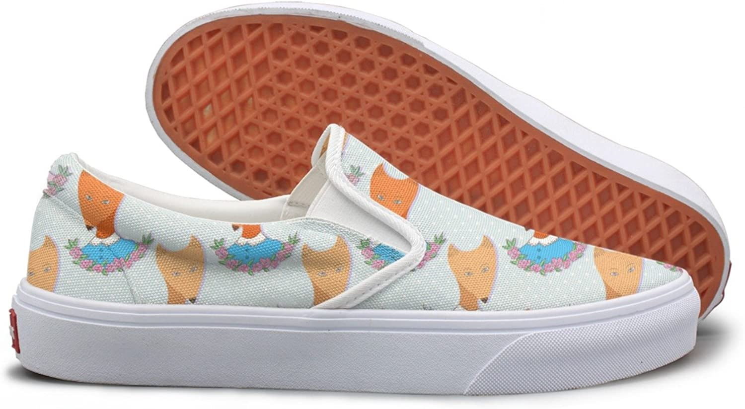 Cute Foxes Lowrie Background Print Walking Sneakers For Women