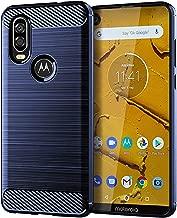 Moto One Vision Case,Motorola P40 Case,Moto P40 Case,LuckyMi TPU Shock Absorption Technology Full Protective Case Carbon Fiber Cover for Motorola One Vision Smartphone