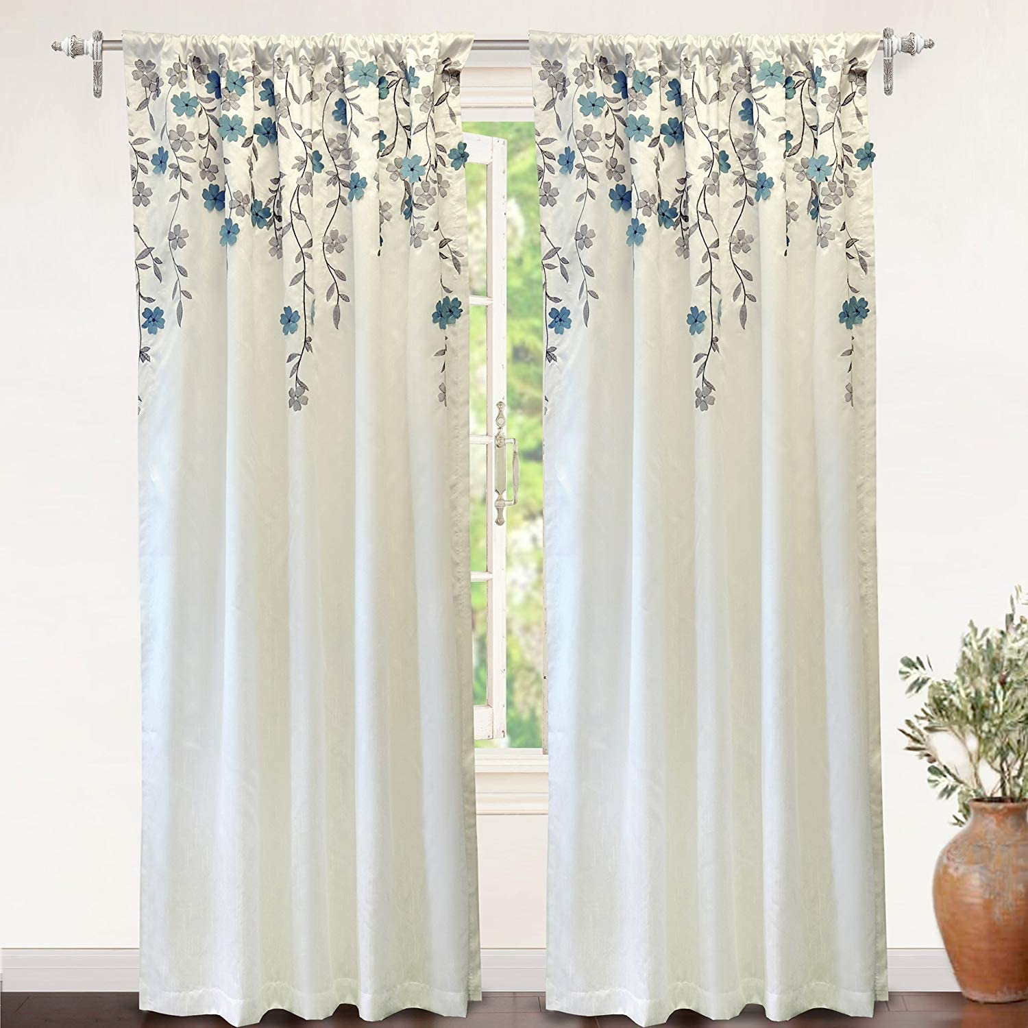 DriftAway Free Shipping New Isabella Max 87% OFF Faux Silk Curtain Window Embroide Embroidered