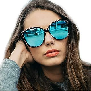 LVIOE Cat Eye Sunglasses for Women, Polarized Mirrored Lens with UV Protection, Trendy Cateye Lightweight Frame Sun Glasses