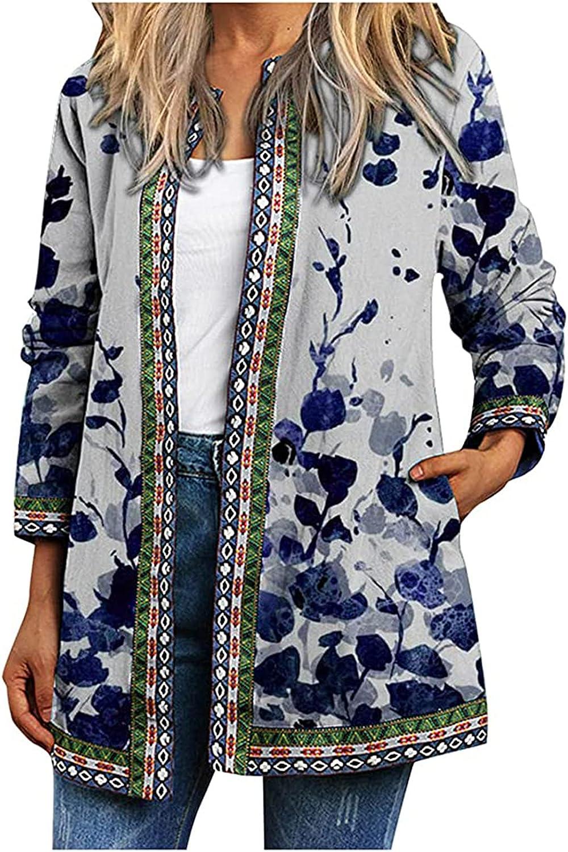 Clearance!! Coat Jacket Women's Ethnic Jacket O Neck Full Sleeve Cardigan Vintage Print Lightweight Coat