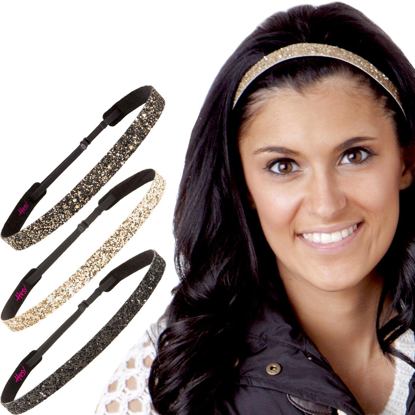 Hipsy Women's Adjustable No Slip Cute Fashion Headbands Bling Glitter Hairband Packs (3pk Black/Gold/Diva Skinny Bling Glitter)