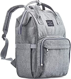 Diaper Bag Backpack by KiddyCare - Multi-Function Baby Bag, Maternity Nappy Bags for Travel, Large Capacity, Waterproof, Durable and Stylish for Woman & Men, Gray