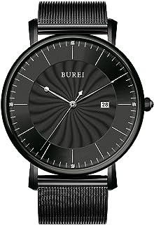 BUREI Men's Quartz Watch Minimalist Black Ultra-Thin Analogue Dail with Date Calendar and Milanese Mesh Band