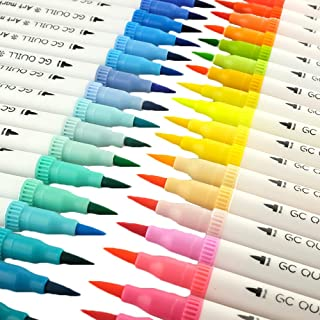GC 100 Dual Tip Brush Pen Marker Set Flexible Brush & Fineliner Tips - Watercolor Effects - Markers perfect for Adult Coloring Books, Manga, Calligraphy, Hand Lettering, Bullet Journal Pens