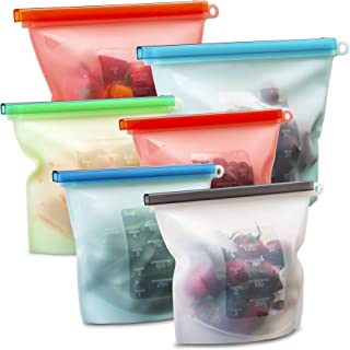 Suppaware reusable clear silicone food storage bags - ziploc airtight seal for preservation - sous vide, refreeze, reboil, microwave - baggies for snacks, lunch, sandwich - 6pk, 4 medium & 2 large