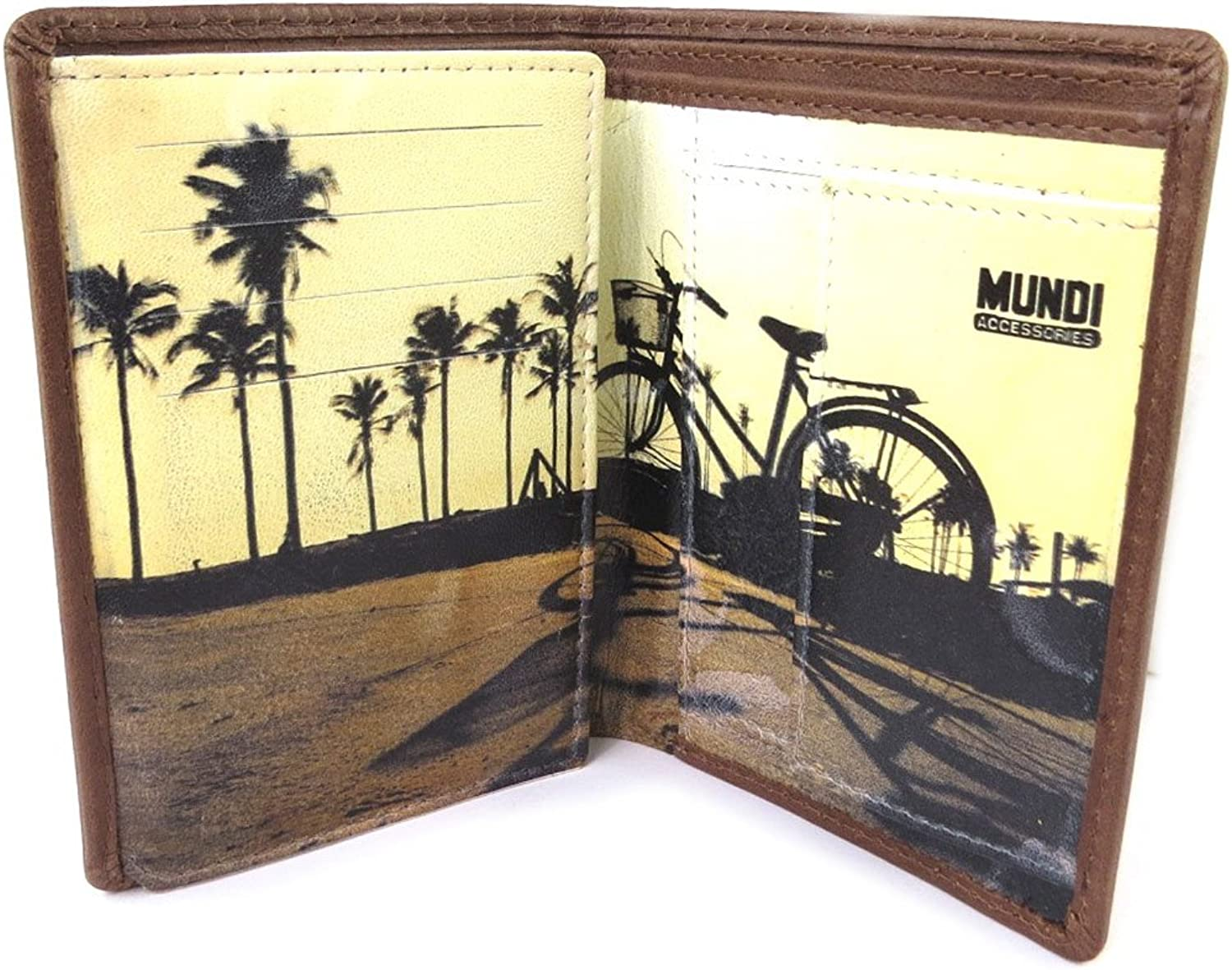 Mundi [N8739]  European wallet leather 'Mundi' brown vintage  12.5x9x2 cm (4.92''x3.54''x0.79'').