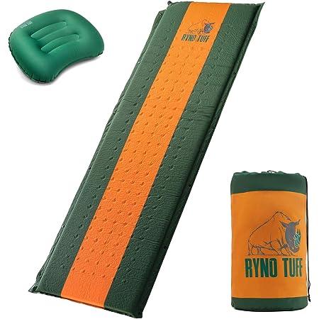 Ryno Tuff Juego de colchonetas autoinflables con almohada de camping gratis, el colchón de espuma para camping es grande, cómodo y bien aislado, pero compacto cuando está plegado