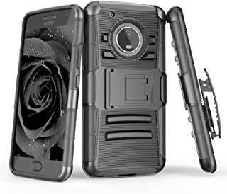 Moto G5 Plus Case, TILL [Knight Armor] [Black] Heavy Duty Full-Body Rugged Holster Resilient Armor Case [Belt Swivel Clip][Kickstand] Defender Combo Cover Shell for Motorola Moto G 5th Gen Plus