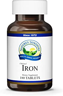 Nature's Sunshine Iron-Chelated 25mg, 180 Tablets | Provides Circulatory System Support, Helps The Transport of Oxygen to The Tissues, and Provides 25 mg Iron per Tablet