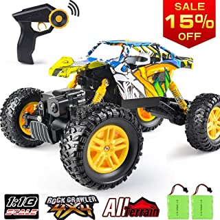 RC Car DOUBLE E 1/18 Remote Control Car 4WD Monster Truck 2.4Ghz with Two Rechargeable Batteries Dual Motors Unique Graffiti Off Road Rock Crawler