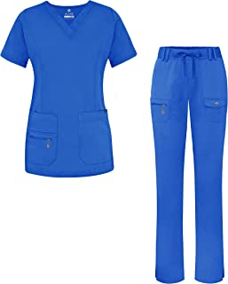 Adar Uniforms Women`s Scrub Set - Enhanced V-Neck Top/Multi Pocket Pants