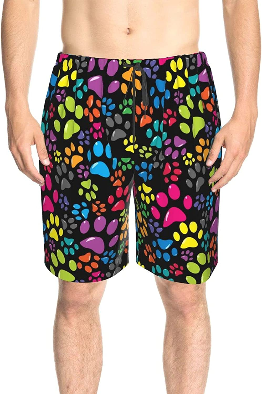 Men's Swim Shorts Colorful Dog Paw Swim Short Boardshort Fast Dry Fashion Board Shorts Swimwear with Pockets