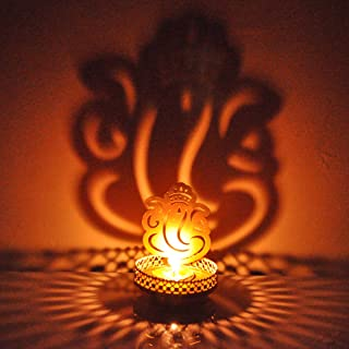 Hashcart Tea Light Candle Holders, Designer Votive Candle Holders/Set, Ganesh Shadow Tea Light Holder for Table Decor, Hom...