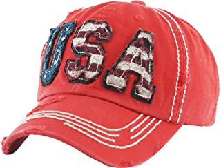 USA Flag Hat Collection Distressed Vintage Baseball Cap Dad Hat Adjustable Unconstructed