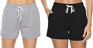 Aibrou Bas de Pyjama 100% Coton Femme été Shorts Couleur Unie et Rayures Sport Shorts Casual Ample