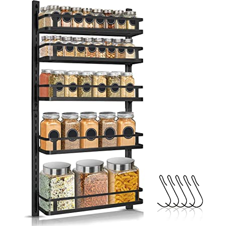 Spice Rack Organizer Wall Mounted, G-TING 5 Tier Height-adjustable Hanging Spice Shelf Storage with 5 Hooks, Dual-use Large Seasoning Holder Racks for Kitchen Cabinet Pantry Door Bathroom, Black