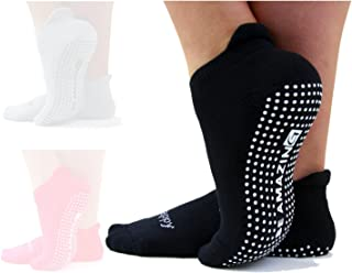 Yoga Socks for Women Barre Sox Non-Slip No-Skid Grip for Pilates Barefoot Workout Hospital Maternity Labor and Delivery Fall Prevention Sock Sticky Black 1 Pack