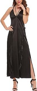 Womens Summer Casual Deep V Slit Flowy Loose Beach Cami Maxi Dress