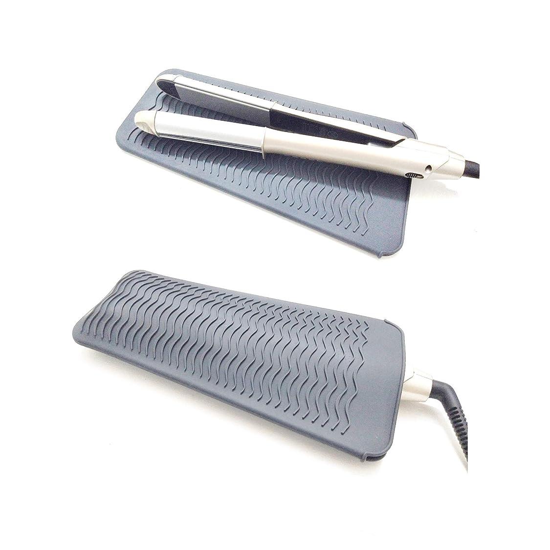 プレゼンター検体音声学ヘアアイロン耐熱ポーチ 滑り止めマット 2way 260℃の高温も耐熱しやけど防止 旅行出張など携帯に便利 グレー