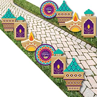 Big Dot of Happiness Happy Diwali - Diya Candles Lawn Decorations - Outdoor Festival of Lights Party Yard Decorations - 10 Piece