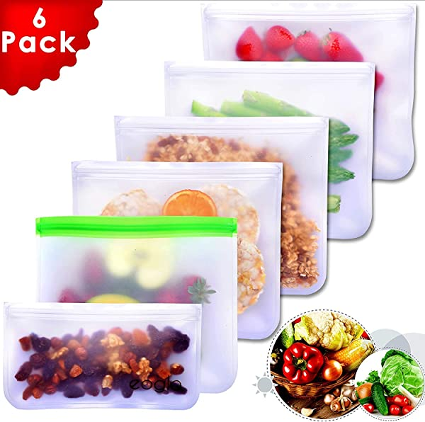 Eoglo Reusable Storage Bags 6 Pack To Go Store Freeze Lunch Sandwiches Kids Food Snacks And Fruits Travel Toiletries EXTRA THICK LeakProof Resealable BPA Free