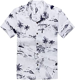Young Adult Boy Hawaiian Aloha Luau Shirt in White Map and Surfer