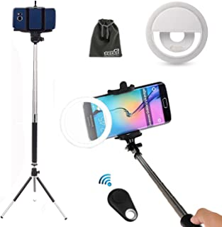 EEEKit 5in1 Selfie Kit for Samsung Galaxy S10 S9 Note 9 8 iPhone X 8 8 Plus, Selfie Stick Pole Monopod, Ring Fill Light Up Flash Luminous LED, Mini Tripod Stand, Mini Remote Control