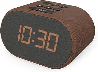 Wekkerradio met USB Oplader & FM Radio, Radiowekker Digitaal, Alarm clock Dimbaar Display met 5 Stappen en Dual Alarm (Hou...