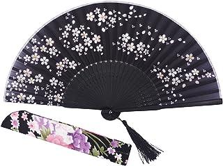 STHUAHE Ventilador de Mano de Seda para Mujer, 21 cm, con Marco de bambú Tallado Hueco, Negro
