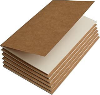 Travel Journal Set with 6 Notebook Journals for Travelers - Kraft Brown Soft Cover - A5 Size - 210 mm x 140 mm - 60 Blank Pages/30 Sheets