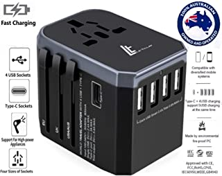 LE TILLAY Universal Travel Adapter 5.6A (MAX) - High Speed 2.4A - 4 USB and 1 Type-C for AU US EU UK - International Power Adapter - Universal Travel Adapter - Worldwide All in One Plugs Smart Charger AC Power Wall Plug for Worldwide 150+ Countries like Europe Asia Japan Australia Middle East India Israel Germany France Italy India Africa China Russia American British European Adaptor(GREY)