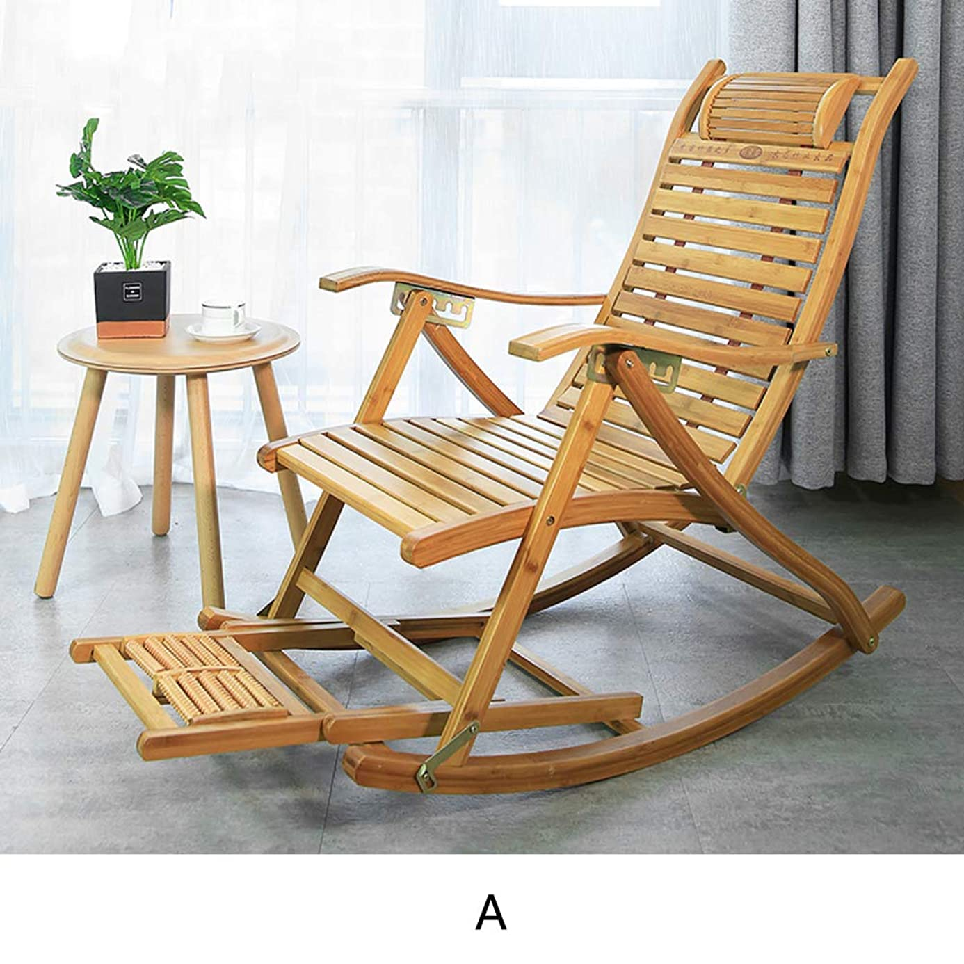 XIAOMEI Folding Rocking Chair,Natural Bamboo Lounger with Foot Rest Zero Gravity Adjustable Reclining Back for Adults Old People The Aged