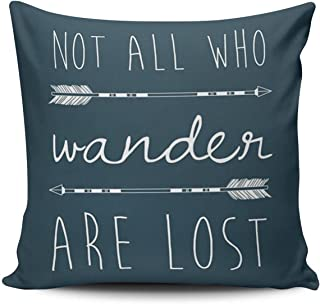 SALLEING Custom Fashion Home Decor Pillowcase Navy Quotes with Arrow Not All Who Wander are Lost Square Throw Pillow Cover Cushion Case 20x20 Inches One Sided Print