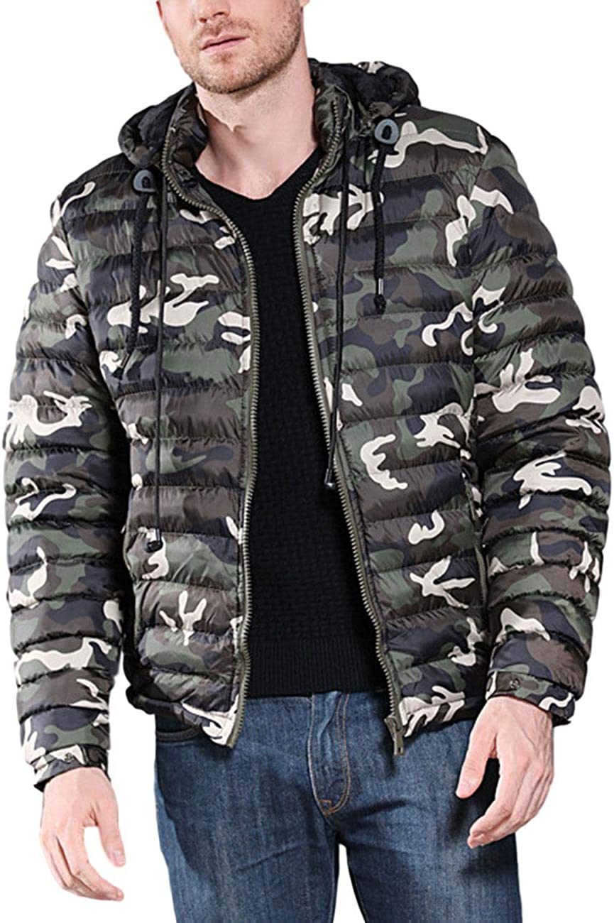 ZLSLZ Mens Winter Thick Warm Camo Padded Puffer Parka Jacket Coat With Hood