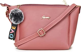 GLOSSY PU Sling Bag with 3 Zip Compartments