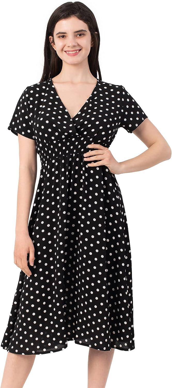 ODIFORGO Women Summer Casual Short Sleeve V Neck Dresses Elastic Waist Floral Midi Dress