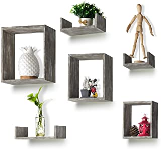 RR ROUND RICH DESIGN Floating Shelves Set of 6 - Rustic Wood Wall Shelves with 3 Square Boxes and 3 Small U Shelves for Free Grouping Driftwood Finish
