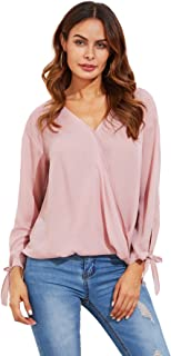 Women's V Neck Long Sleeve Wrap Front Pleated Chiffon Blouse Tops
