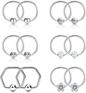 16g Septum Jewelry Nose Ring Hoop Captive Bead Rings Stainless Steel CBR Daith Cartilage Earring Helix Piercing Jewelry for Women Men Silver Rose Gold