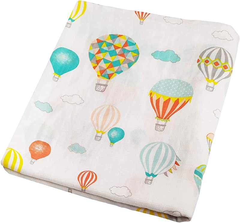 Muslin Swaddle Blankets Balloon Print Baby Shower Gift Baby Swaddle Wrap Large Size 47 X47 Lightweight And Breathable