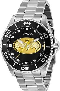 Invicta DC Comics Reloj de cuarzo para hombre con correa de acero inoxidable, plateado, 22 (Modelo: 29696)