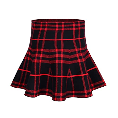 a4a45e88b2 storeofbaby Little Big Girls High Waist Knitted Flared Pleated Skater Skirt  Casual