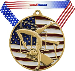 Decade Awards Gymnastics Patriotic Medal - 2.75 Inch Wide Gymnast Medallion with Stars and Stripes American Flag V Neck Ribbon