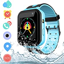 Kids Waterproof Smart Watch Phone, HD Touch Screen Smartwatch with AGPS/LBS Tracker Voice Chat SOS Camera Flashlight Alarm ClockSmartwatch for 3-12 Year Old Boys Girls Birthday Gift (Blue)
