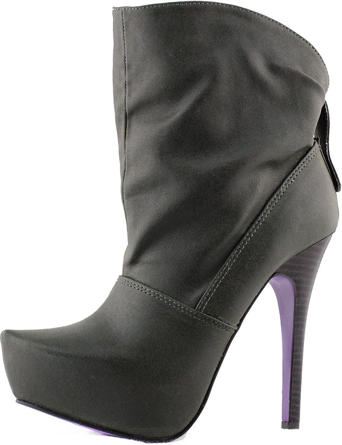 Women's Platform Ankle High Booties Mid Calf Buckle Back Pointy Toe Fashion shoes