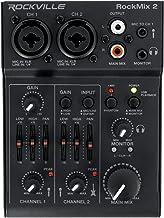 Rockville RockMix 2 Channel Mic/Instrument Pro Recording Mixer+USB Interface/EQ