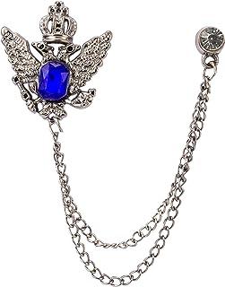 تاج Knighthood للرجال مع حجر أزرق تفاصيل سلسلة شرابة الياقة بروش دبوس التلبيب